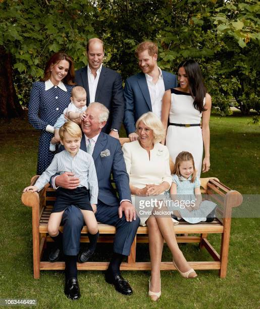 Prince Charles Prince of Wales with Prince Louis of Cambridge and Catherine Duchess of Cambridge after a famil portrait photoshoot in the gardens of...