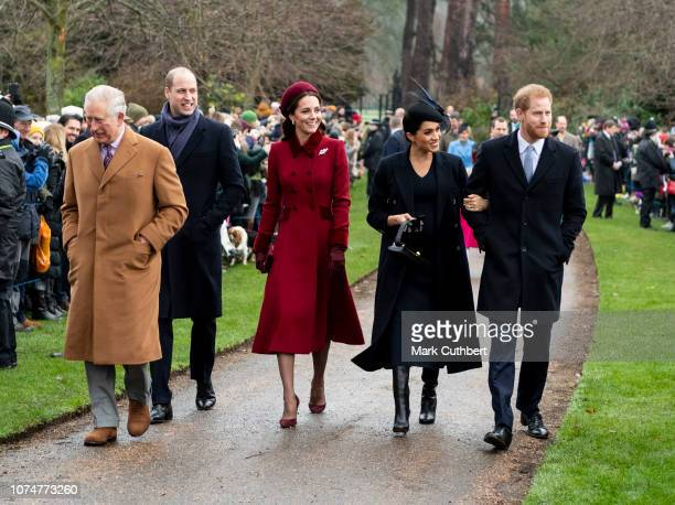 Prince Charles, Prince of Wales with Prince William, Duke of Cambridge, and Catherine, Duchess of Cambridge, Prince Harry, Duke of Sussex and Meghan,...