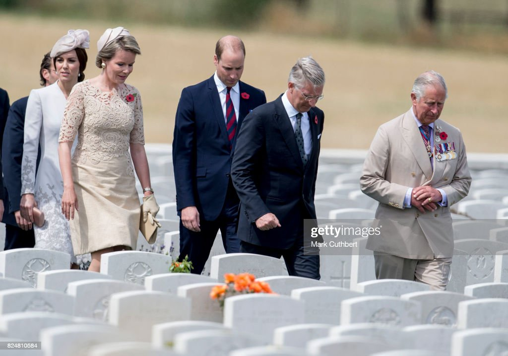 Prince Charles, Prince of Wales with Prince William, Duke of Cambridge and Catherine, Duchess of Cambridge with King Philippe of Belgium and Queen Mathilde of Belgium attend the commemorations at the Tyne Cot Commonwealth War Graves Cemetery on July 31, 2017 in Ypres, Belgium. The commemorations mark the centenary of Passchendaele - The Third Battle of Ypres.