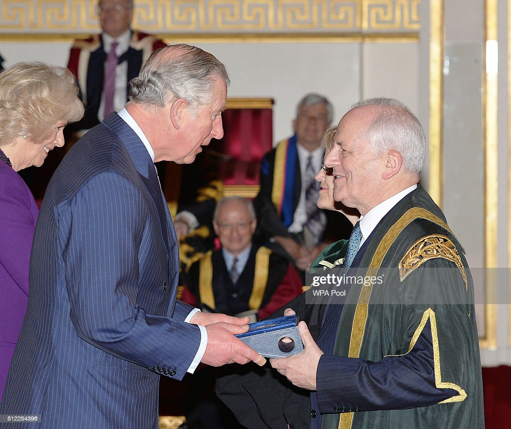Prince Charles, Prince of Wales with Professor Brian Cantor of the University of Bradford, during the presentation of The Queen's Anniversary Prizes for higher and further education, at a ceremony in Buckingham Palace on February 25, 2016 in London, England.