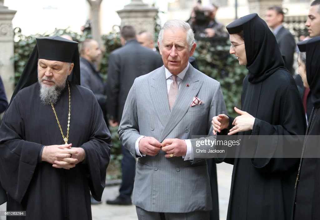 Prince Charles, Prince of Wales with religious leaders as he visits Stavropoleos Church during a walking tour of the Old Town on the third day of his nine day European tour on March 31, 2017 in Bucharest, Romania.