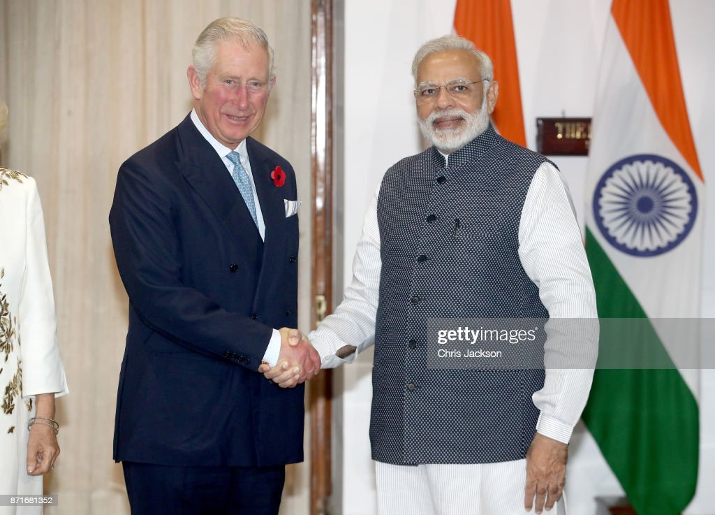 Prince Charles, Prince of Wales with the Prime Minister of India Narendra Modi at Hyderabad House during a visit to India on November 8, 2017 in New Delhi, India. The Prince of Wales and Duchess of Cornwall are on a tour of Singapore, Malaysia, Brunei and India.