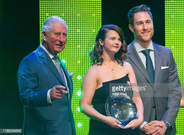 Prince Charles Prince of Wales with winner of the Rising Star award Rachel Smyth during the annual Prince's Trust Awards at the London Palladium on...