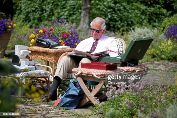 Prince Charles Prince of Wales works in the Gardens of Highgrove House on July 19 2018 in Tetbury United Kingdom