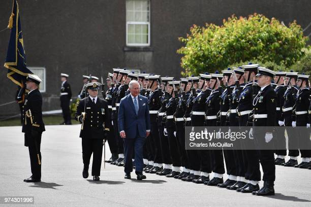 Prince Charles Prince of Walesinspects an honour guard during visit to Cork Naval Base on June 14 2018 in Cork Ireland The Prince of Wales and...