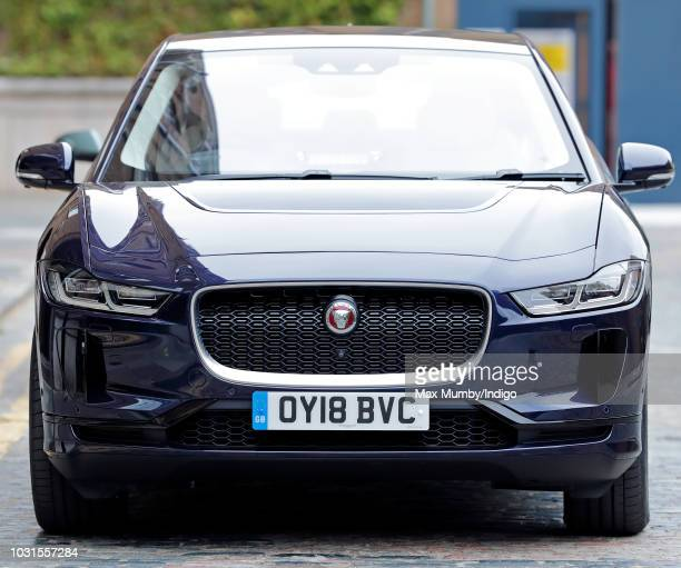 Prince Charles Prince of Wales's new Jaguar IPACE fully electric car seen as he visits the newly refurbished 'Maiden' Yacht at HMS President on...