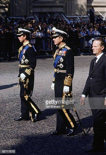 Prince Charles Prince Philip In Naval Dress Uniform And David Hicks Following The Gun Carriage At Lord Mountbatten Funeral On Route To Westminster...