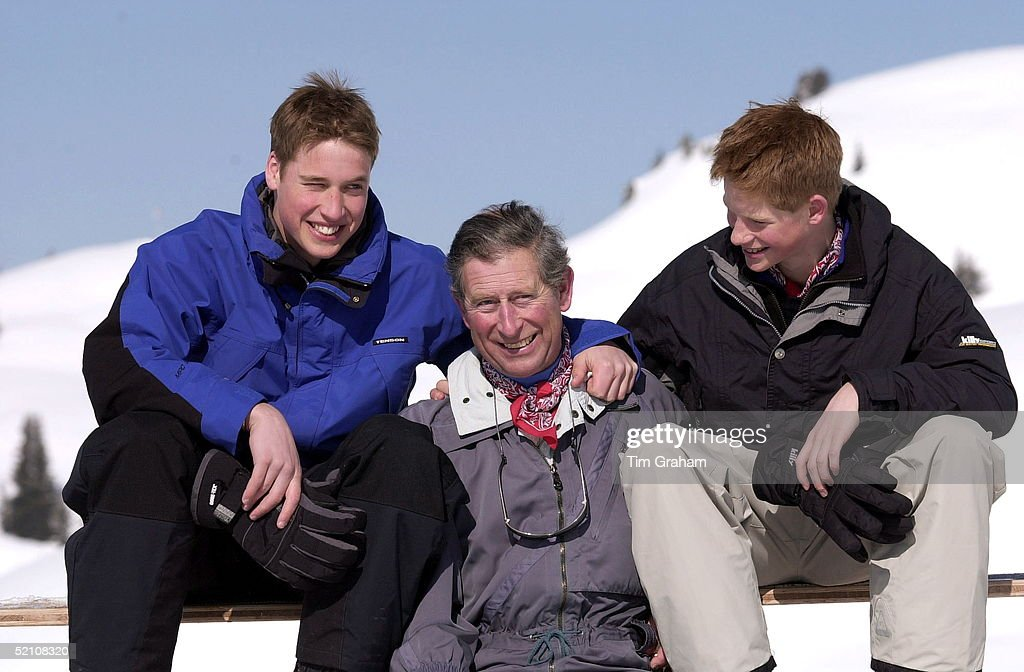 Prince Charles, Prince William And Prince Harry On A Skiing Holiday In Klosters, Switzerland.