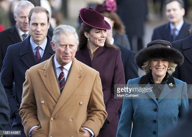 Prince Charles, Prince William, Camilla, Duchess Of Cornwall And Catherine, Duchess Of Cambridge Attend St Mary Magdalene Church, On The Royal Estate...