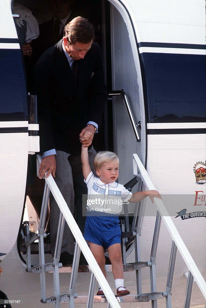 Prince Charles & Prince William Disembarking A Royal Flight Plane
