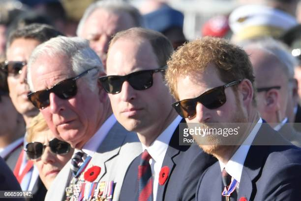 Prince Charles Prince William The Duke of Cambridge and Prince Harry attend a ceremony to mark the centenary of the Battle of Vimy Ridge on April 9...