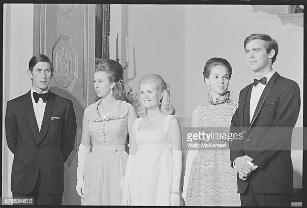 Prince Charles, Princess Anne, Tricia Nixon, Julie Nixon Eisenhower and David Eisenhower at Party