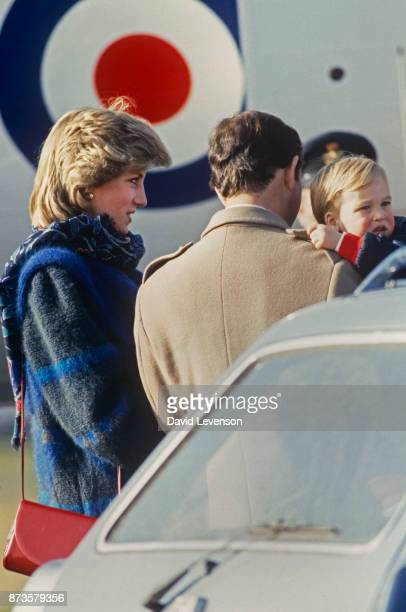 Prince Charles Princess Diana and Prince William at Aberdeen airport in February 1984