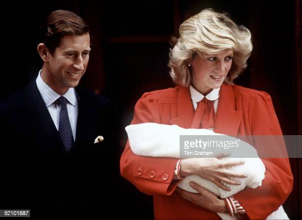 September 16: Prince Charles & Princess Diana With The Newly Born Prince Henry Outside The Lindo Wing.