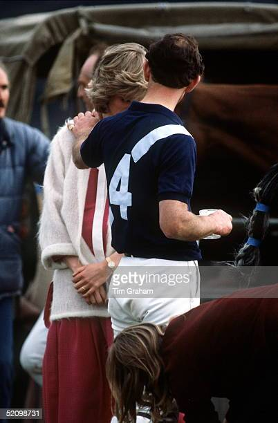 Prince Charles Puts A Reassuring Hand On Princess Diana's Shoulder As They Talk Together At A Polo Match At Guards Polo Club In Windsor