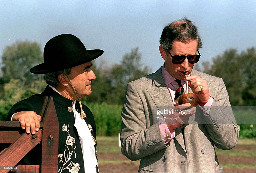 Prince Charles Samples A Local Drink, Sipping It Through A Straw, During A Visit To Las Brujas Agricultural Centre, Uruguay.