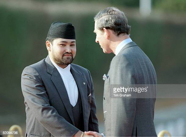 Prince Charles Shaking Hands With Crown Prince Dipendra Of Nepal