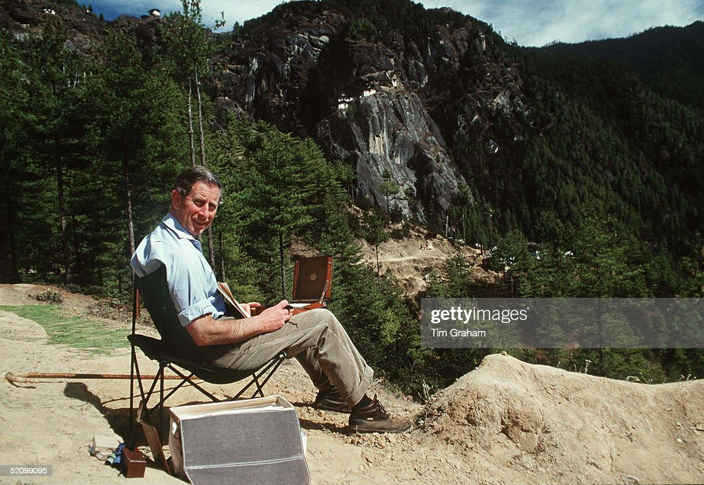 Prince Charles Sketching In The Himalayas.