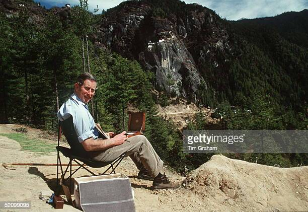 Prince Charles Sketching In The Himalayas