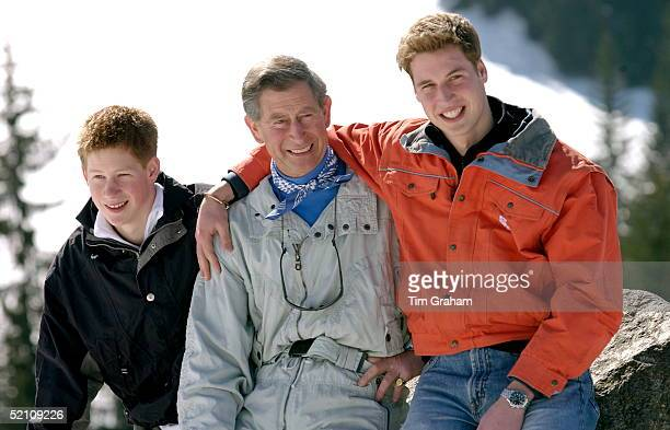Prince Charles Smiling With His Teenage Sons Prince William And Prince Harry At The Start Of Their Annual Skiing Holidays Prince William Is Showing...