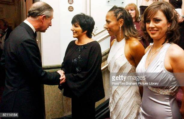 Prince Charles Speaks To Liza Mannelli Whilst Kelly Holmes And Jill Halfpenny Wait To Greet Him Backstage At The Royal Variety Performance Held At...