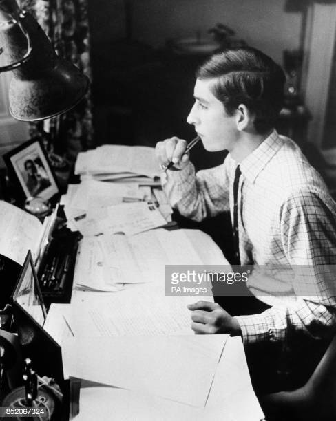 Prince Charles studying in his room at Trinity College Cambridge