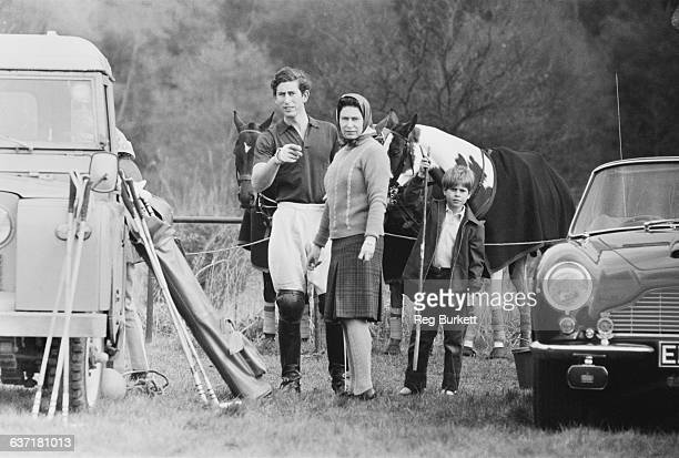 Prince Charles takes part in a polo match in Windsor Great Park accompanied by the Queen and Prince Edward UK 1st May 1971