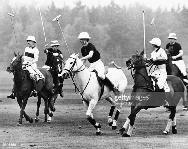 Prince Charles talking part in a polo match in the Combermere Cup tie, Windsor Park, England, April 24th 1967.