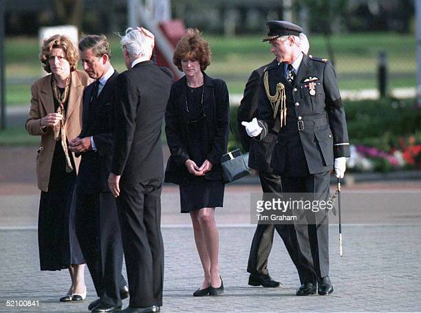 Prince Charles Talking With Diana's Sisters Lady Sarah McCorquodale And Lady Jane Fellowes At Raf Northolt After The Arrival Of Princess Diana's...