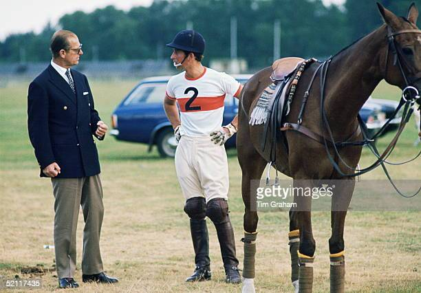 Prince Charles Talking With Prince Philip Before A Game Of Polo At Windsor