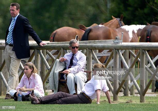 Prince Charles Talking With Tiggy Petifer Formerly Leggebourke Prince Harry's Nanny As They Watched Harry Captain England Schools Polo Team Against...