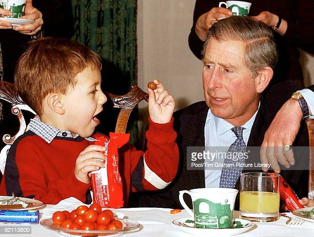 Prince Charles Talks To Thomas Willis A Four Year Old Leukaemeia Sufferer After He Helped Decorate The Christmas Tree At Clarence House