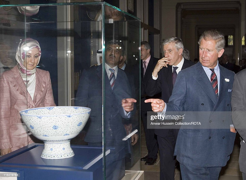 Prince Charles, The Prince of Wales, accompanied by Jack Straw, leader of the House of Commons, opens the new gallery of Islamic art at the Victoria and Albert Museum in London on July 18, 2006.