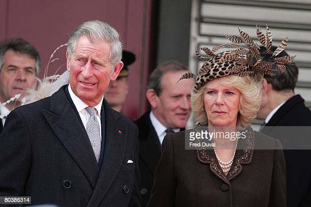 Prince Charles The Prince Of Wales and Camilla Duchess of Cornwall attend a reception for Nicolas Sarkozy and Carla BruniSarkozy at Heathrow Airport...