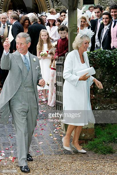 Prince Charles The Prince of Wales and Camilla Duchess of Cornwall at the wedding of the Duchess' son Tom ParkerBowles to his bride Sara Buys Their...
