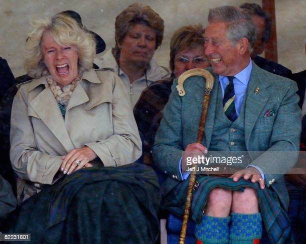 Prince Charles the Prince of Wales and Camilla Duchess of Cornwall in their role as the Duke and Duchess of Rothesay attend the Mey Highland Games at...