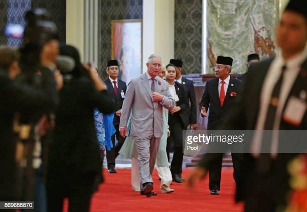 Prince Charles The Prince of Wales and Camilla Duchess of Cornwall arrive at Istana Negara to visit His Majesty The Yang diPertuan Agong XV Sultan...