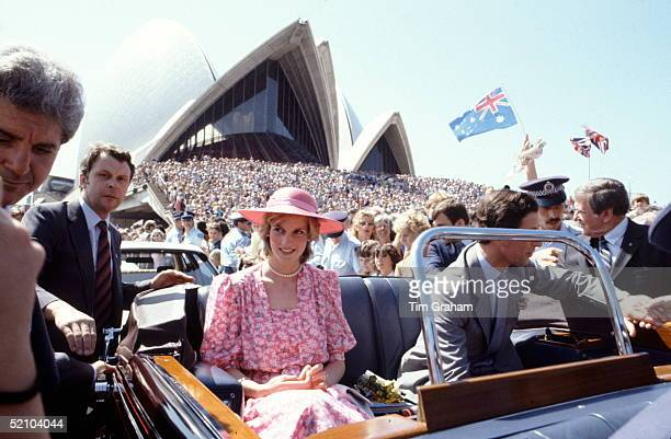 Prince Charles The Prince Of Wales And Diana Princess Of Wales In A Car In Front Of The Sydney Opera House During An Official Tour In March...