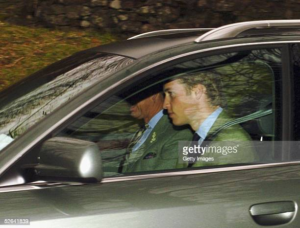 Prince Charles, the Prince of Wales, and his son Prince William, attend Sunday church service during his honeymoon, at Crathie Church, Balmoral on...