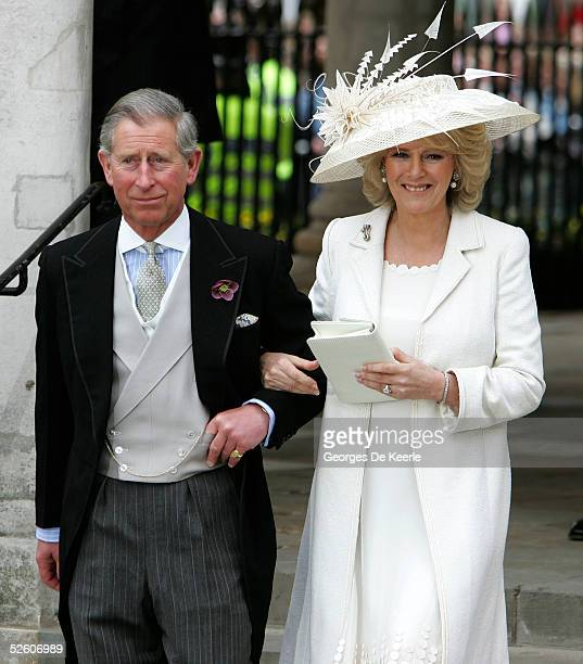Prince Charles the Prince of Wales and his wife Camilla the Duchess of Cornwall depart the Civil Ceremony at which they were legally married at The...