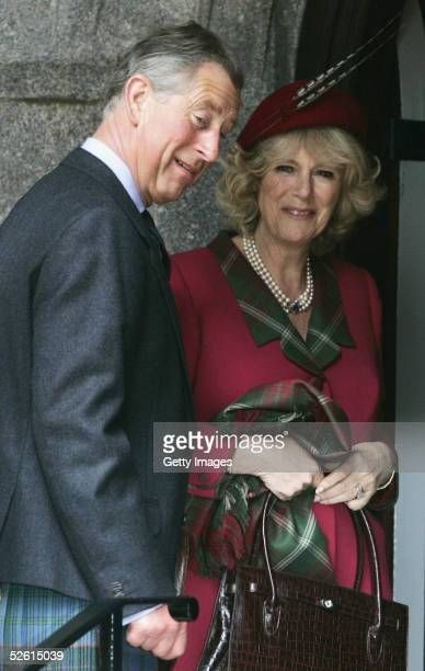 Prince Charles, the Prince of Wales, and his wife Camilla, the Duchess Of Cornwall, attend Sunday church service on the first day of their honeymoon,...