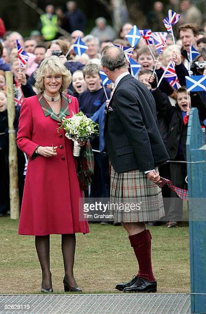 Prince Charles the Prince of Wales and his wife Camilla the Duchess of Cornwall in their role as the Duke and Duchess of Rothesay take time out from...
