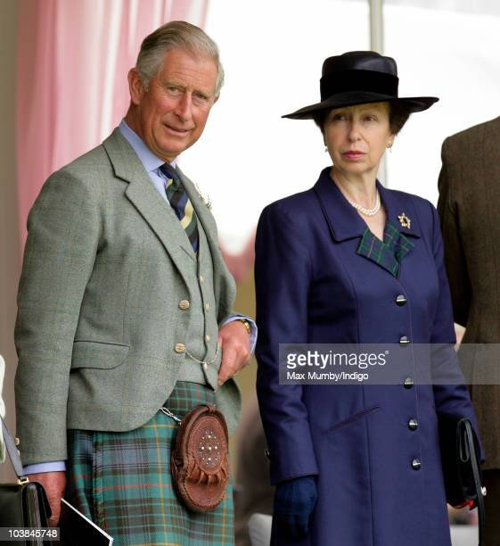 Prince Charles The Prince of Wales and Princess Anne The Princess Royal attend the Braemar Highland Games at The Princess Royal and Duke of Fife...