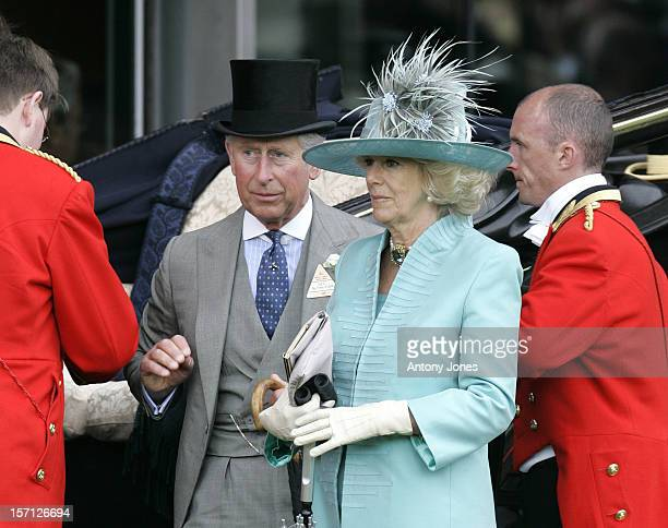Prince Charles The Prince Of Wales And The Camilla Duchess Of Cornwall Arrive For The Second Day At Ascot Racecourse Berkshire