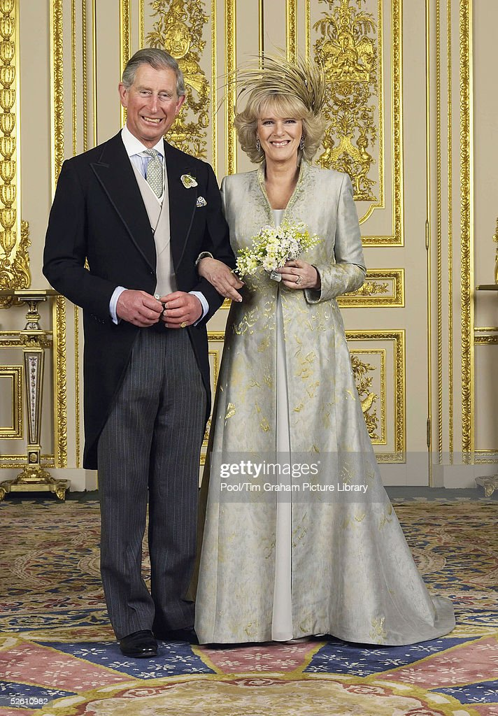 Prince Charles, The Prince of Wales and The Duchess Of Cornwall, Camilla Parker-Bowles pose in the White Drawing Room at Windsor Castle for the Official Wedding photograph following their marriage on April 9, 2005 in Windsor, England.