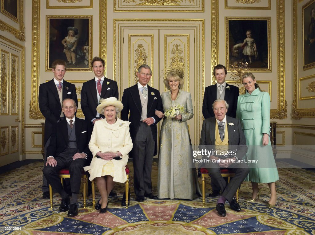 Prince Charles, The Prince of Wales and The Duchess Of Cornwall, Camilla Parker-Bowles pose for the Official Wedding photograph with their children and parents (L-R Prince Harry, Prince William, Laura and Tom Parker-Bowles Front: Queen Elizabeth II, Prince Philip, Bruce Shand), in the White Drawing Room at Windsor Castle following their marriage. Saturday April 9 2005, in Windsor, England.