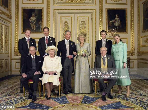 Prince Charles, The Prince of Wales and The Duchess Of Cornwall, Camilla Parker-Bowles pose for the Official Wedding photograph with their children...