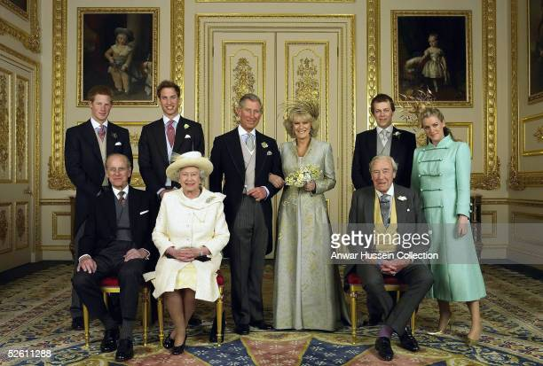 TRH Prince Charles The Prince of Wales and The Duchess Of Cornwall Camilla ParkerBowles pose for the Official Wedding photograph with their children...