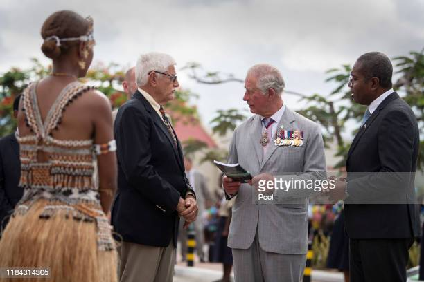 Prince Charles The Prince of Wales attends a wreath laying ceremony at the Solomon Islands Scouts Memorial on the second day of the royal visit 24th...