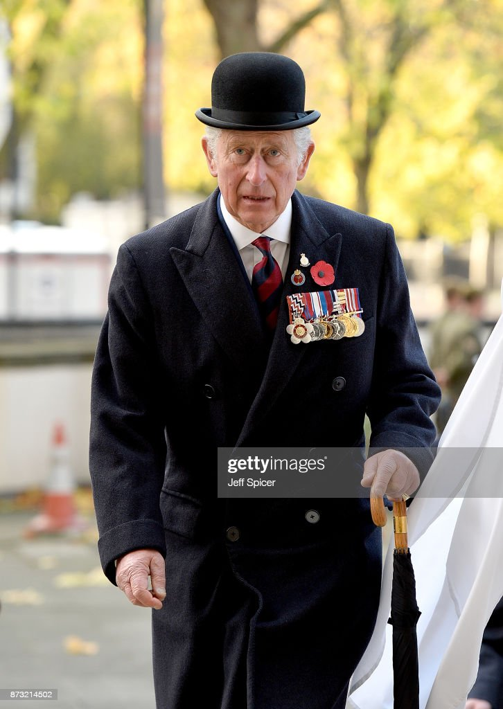Prince Charles, The Prince of Wales attends the Welsh Guards' Remembrance Sunday service at Guards Chapel on November 12, 2017 in London, England. The Prince of Wales has been the Colonel of the Welsh Guards since 1975.
